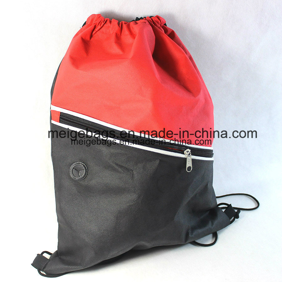 Polypropylene Promotional Drawstring Sports Backpack Bag, with Zipper Pocket