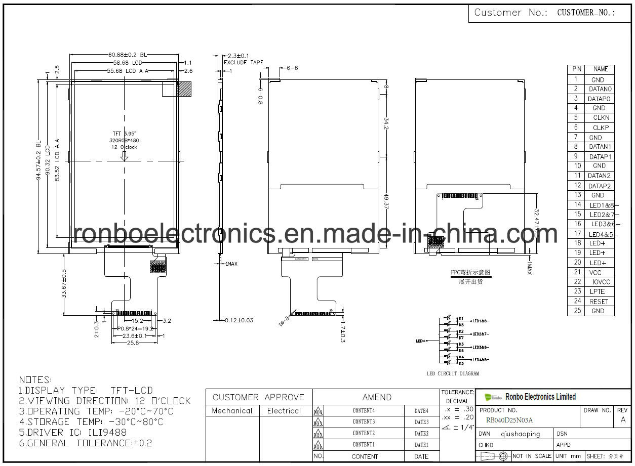 """4.0"""" 320X480 Mipi TFT LCD Module, Ili9488, 25pin for POS, Doorbell, Medical"""