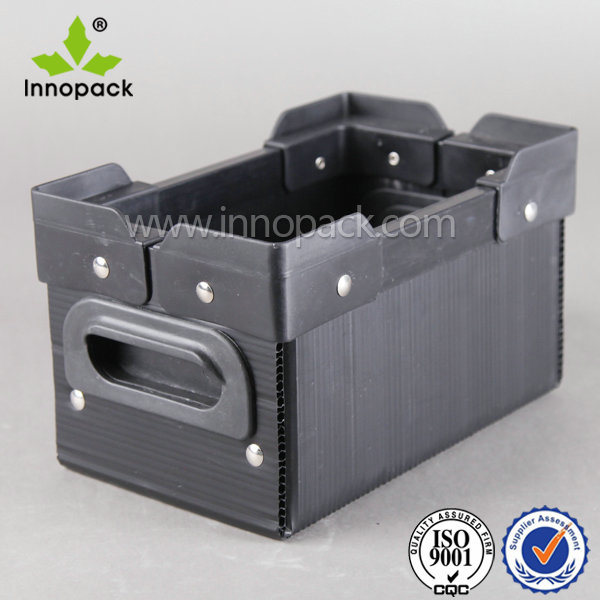 Plastic PP Turnover Box with Corner and Handle for Transportation