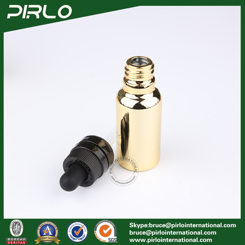 20ml 30ml 50ml 100ml Gold Glass Essential Oil Bottles E-Liquid Dropper Bottles