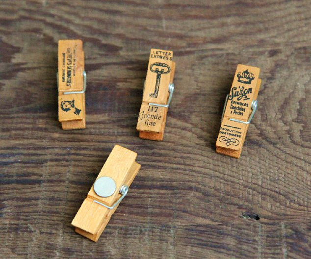 Wooden Clip with Magnet & Colored Mini Clothespin