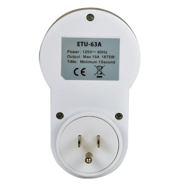 Digital Programmable Timer Socket Plug Wall Home Plug-in Switch Energy-Saving for Home Lights, and All Househol (ETU-63)