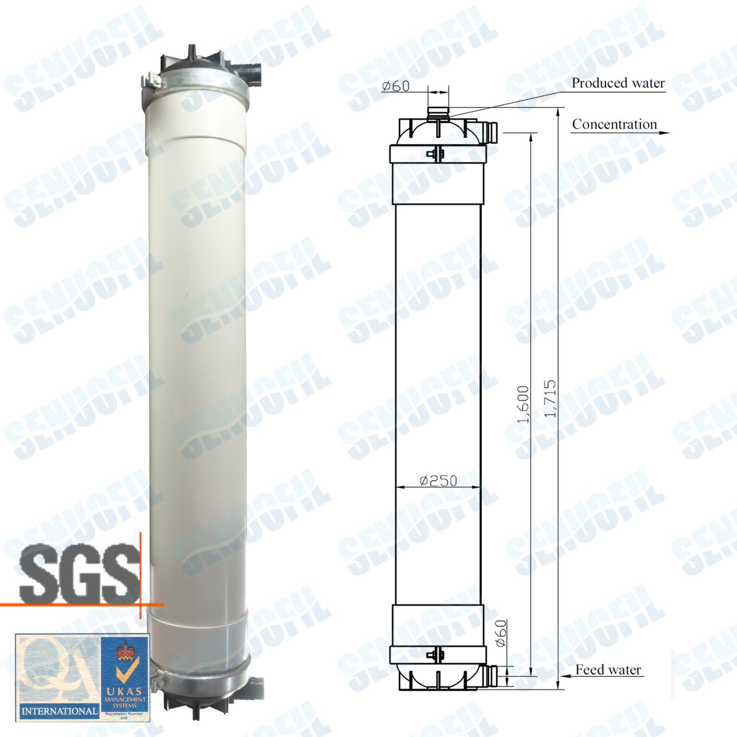 10 Inch Inside-out Pes UF Membrane Module RO Water Purifier