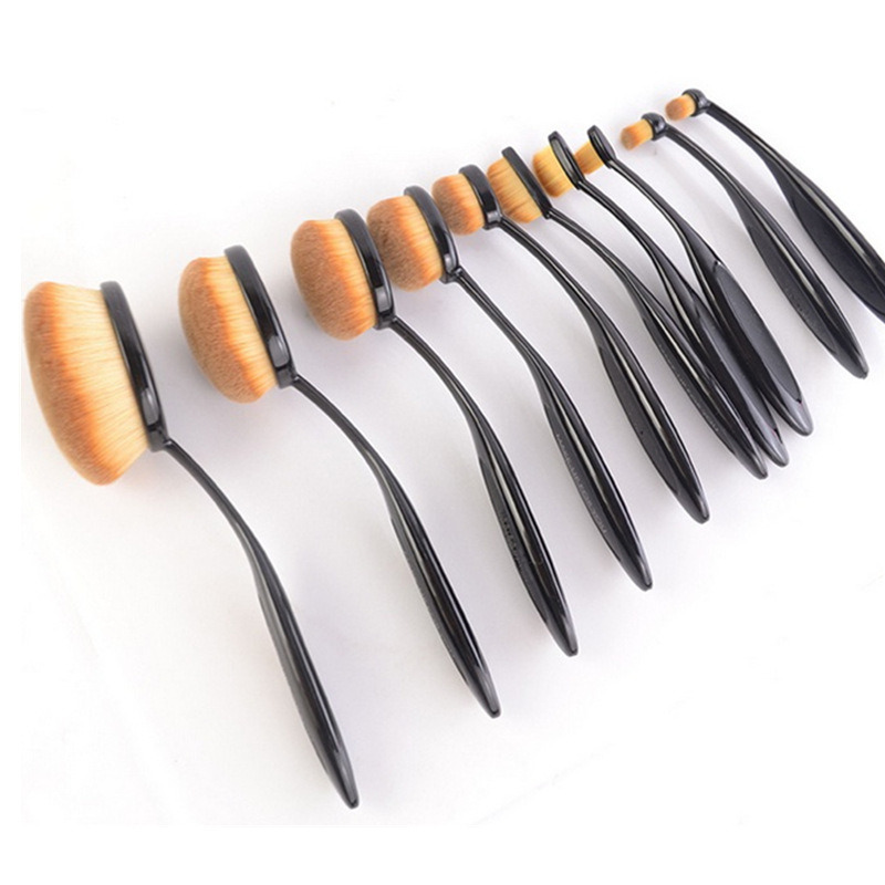 Wholesale Professional 10PCS Oval Toothbrush Brush Set Makeup Brushes Kit