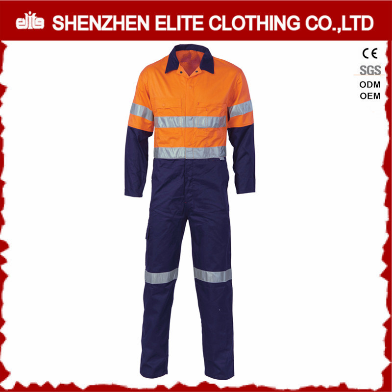 Custom Men Cotton Drill Work Coveralls with Reflective Tape