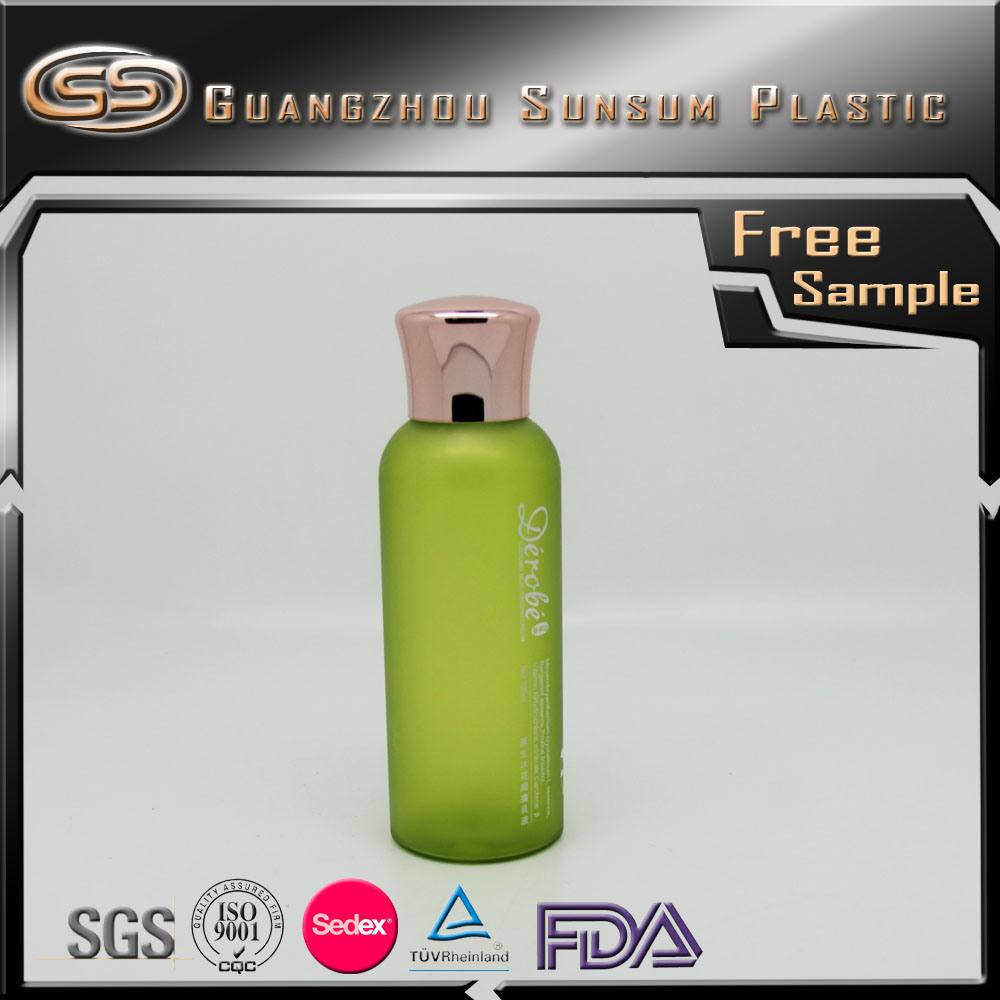 Facial Toner Plastic Shampoo Bottle with Gold Chrome Screw Lid
