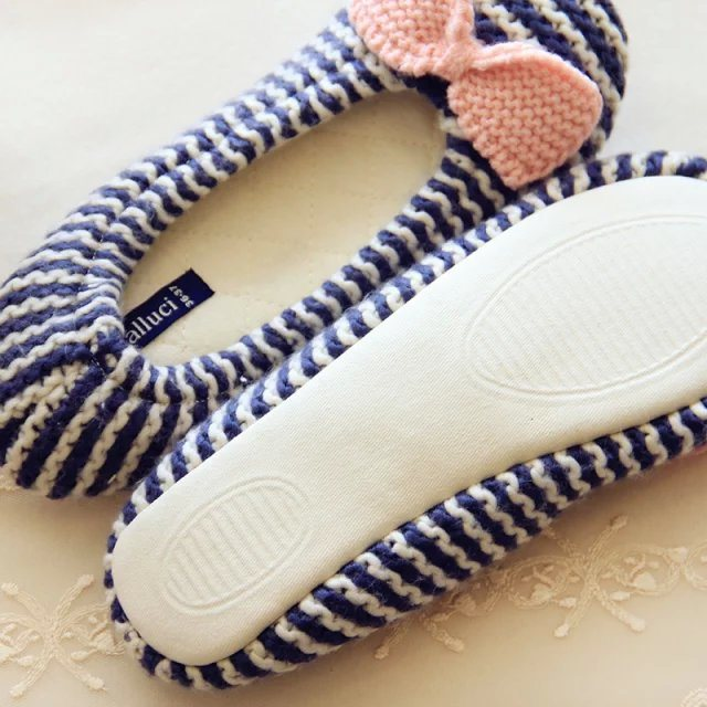 Women Knit Slipper Indoor Slipper Fotwear Pregnant Women Bow Shoes