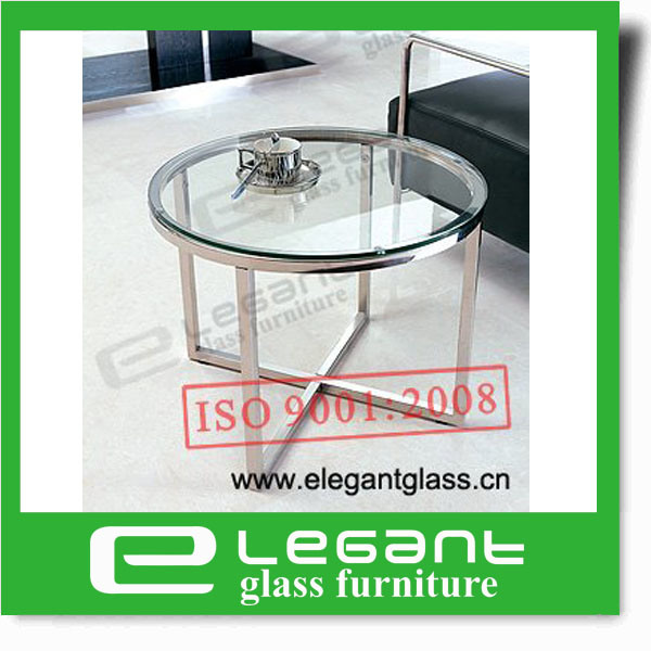 Modern Black Painting Tempered Glass Side Table with Stainless Steel Frame