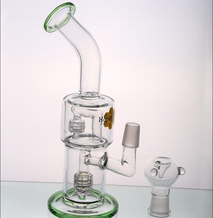 Green Double Percolators pipes Oil Rigs Water Pipes Smoking Pipes