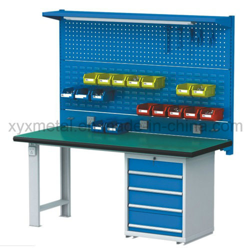 Steel Tools Drawers Work Table Workbench with Tools Wall and Light