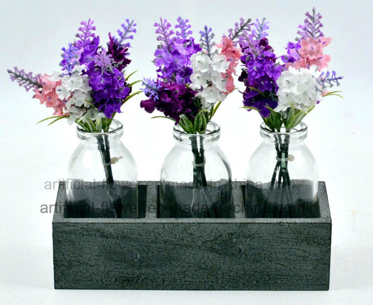 Colourful Artificial Flower Purple Lavender for Home and Wedding Decoration in Glass with Wood Stand