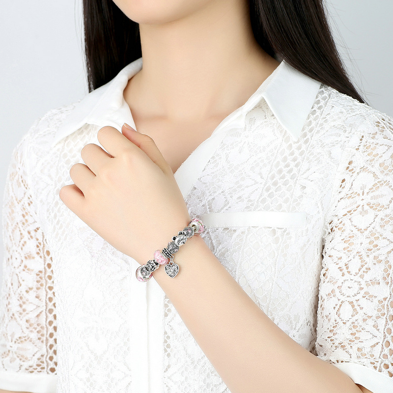 Charm Bracelet Heart Pendant & Bear Flower Safety Chain Pink Murano Beads Bracelets Jewelry Making