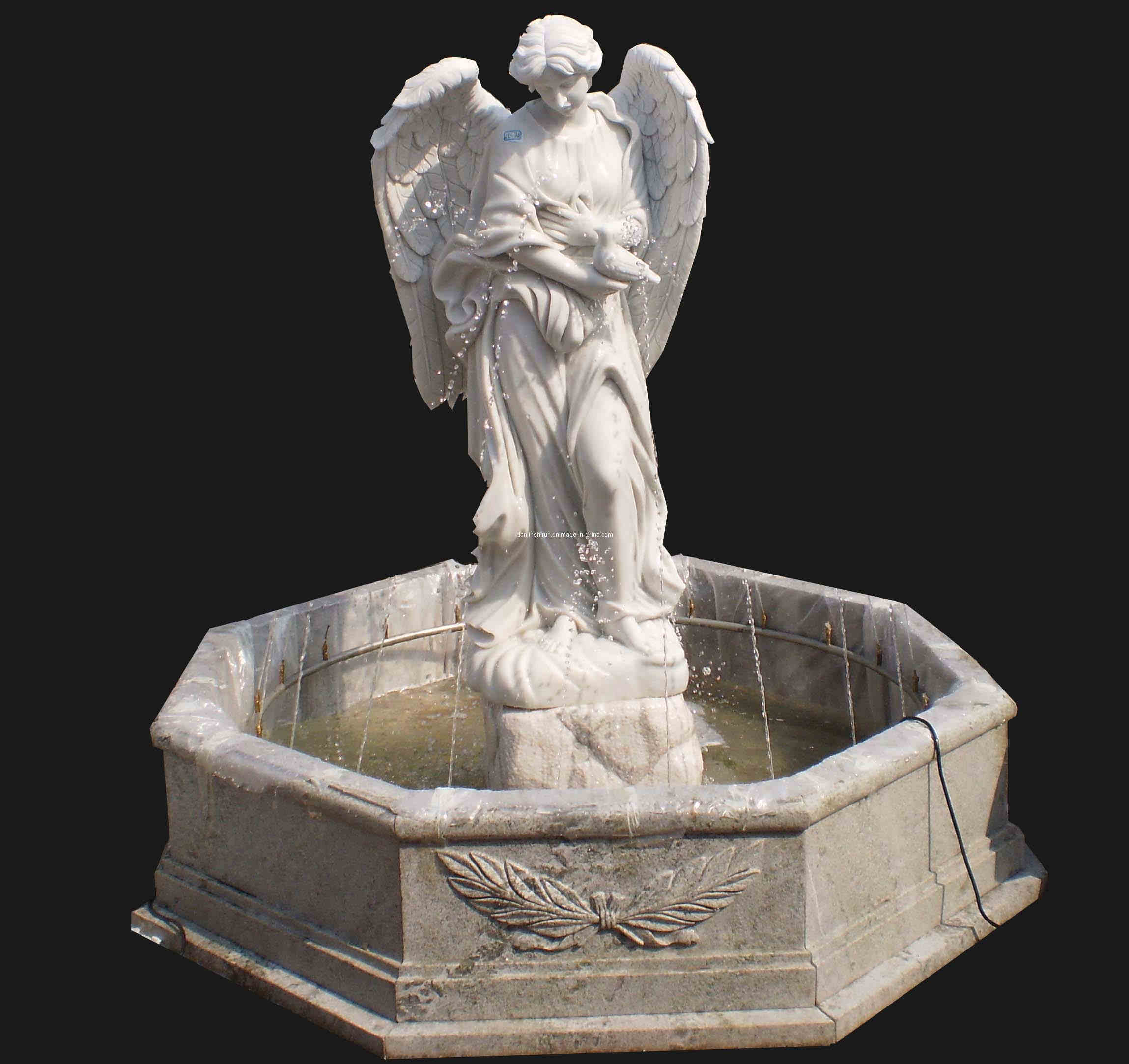 White Marble Statue : China white marble angel sculpture fountain fnt