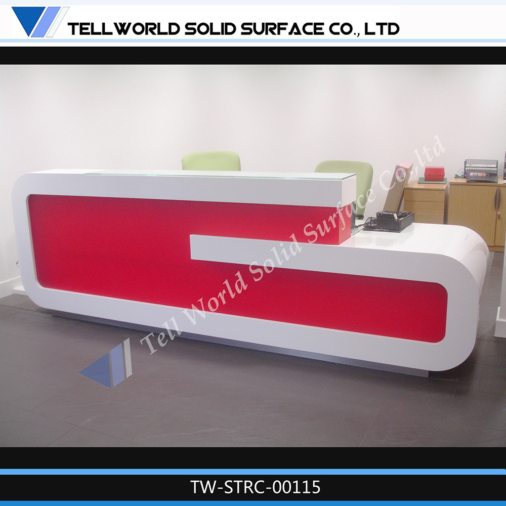 China New Design White Red Reception Table for Office Decoration ...