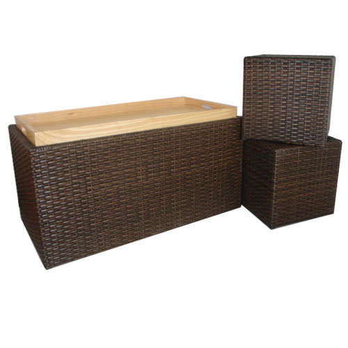 China Resin Wicker Storage Bench China Storage Bench