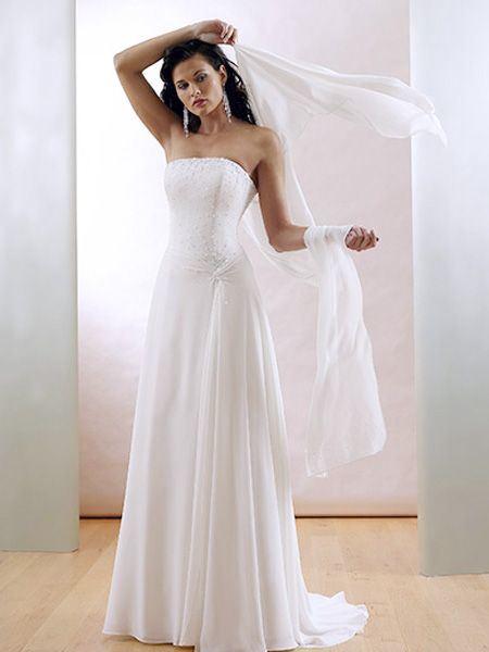 2011 Elegant a Line Strapless Sweep SatinChiffon Wedding Dress
