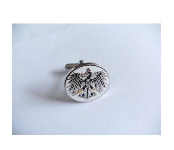 Eagle Pattern Logo Cufflink Round Silver Plated Cufflink (GZHY-XK-003)