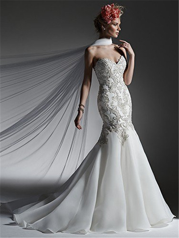 Mermaid/Trumpet Beading Wedding Dress with Bridal Gown, Customized