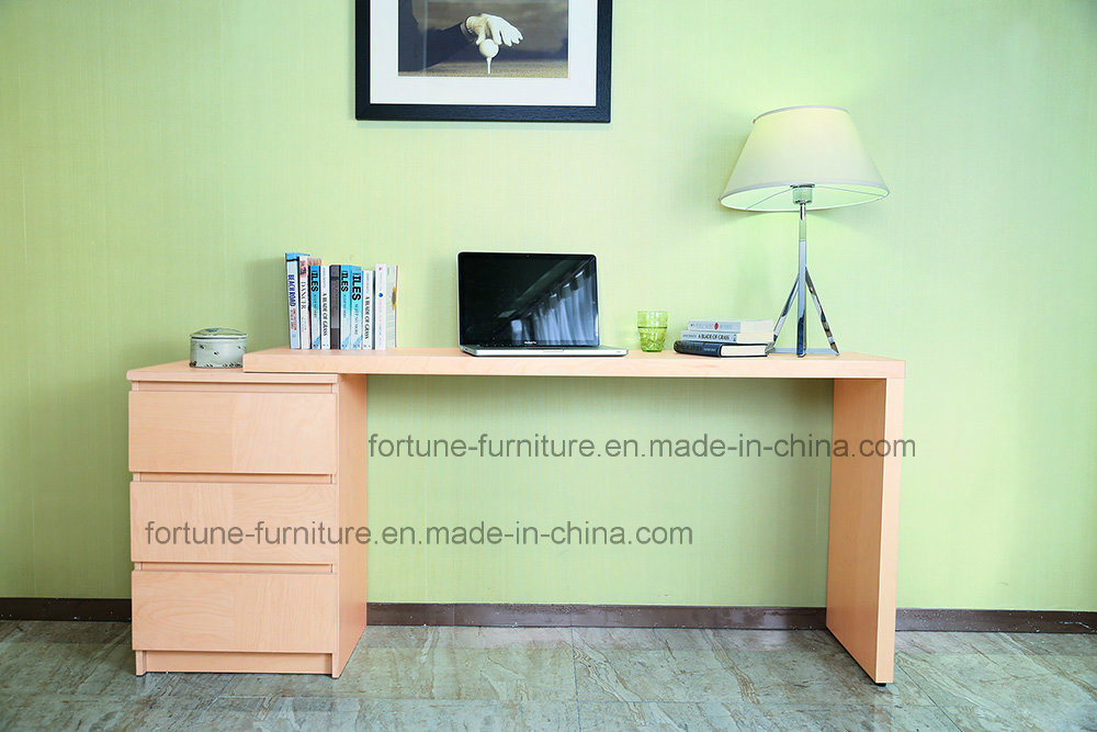 Wooden Stretchable Birch Veneer Clear Lacquer Computer Desk with Chest of Drawers (AD-FY-N702-ST)