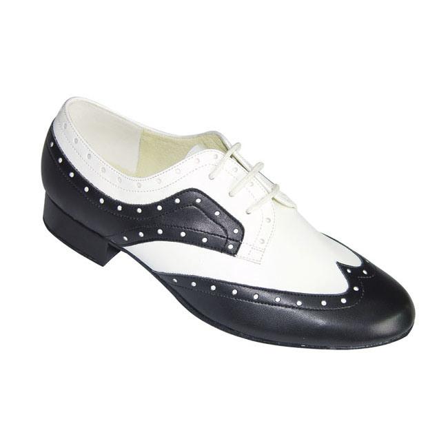 Black&White Leather Men′s Ballroom Dance Shoes