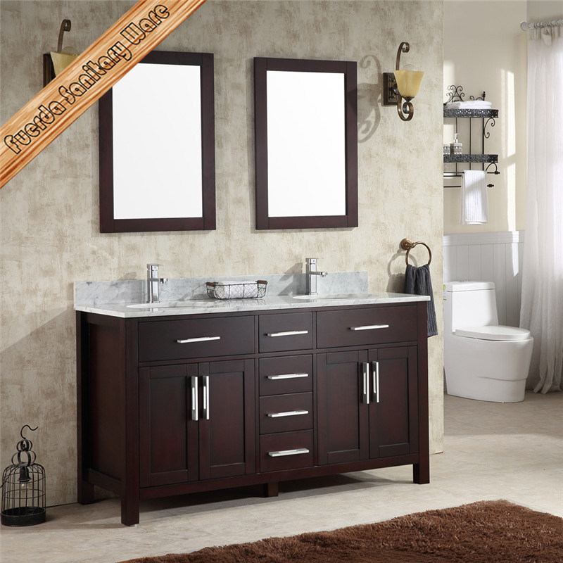 Solid Oak Wood Floor Mounted Double Sinks Bathroom Furniture