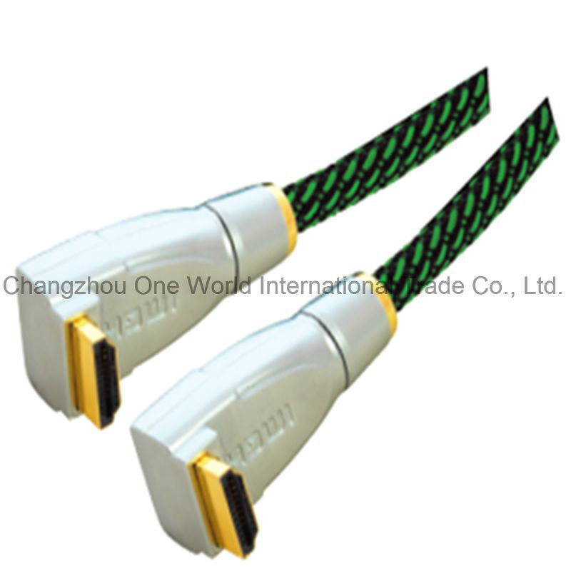 Metal Assembly Right Angle HDMI 19pin Plug to Plug Cable