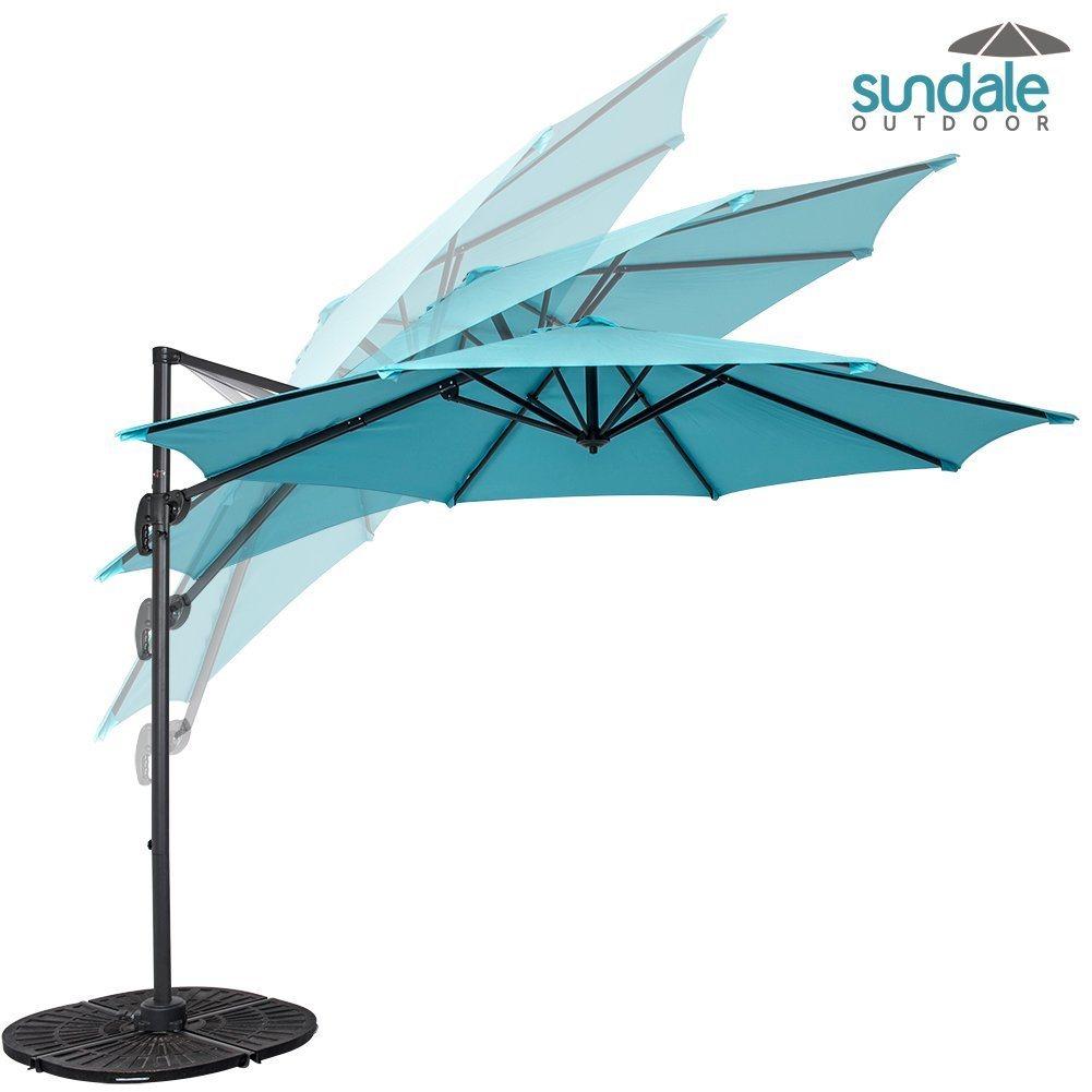 Outdoor 10FT Hanging Roma Offset Umbrella Outdoor Patio Sun Shade Cantilever Crank Canopy (Light Blue)