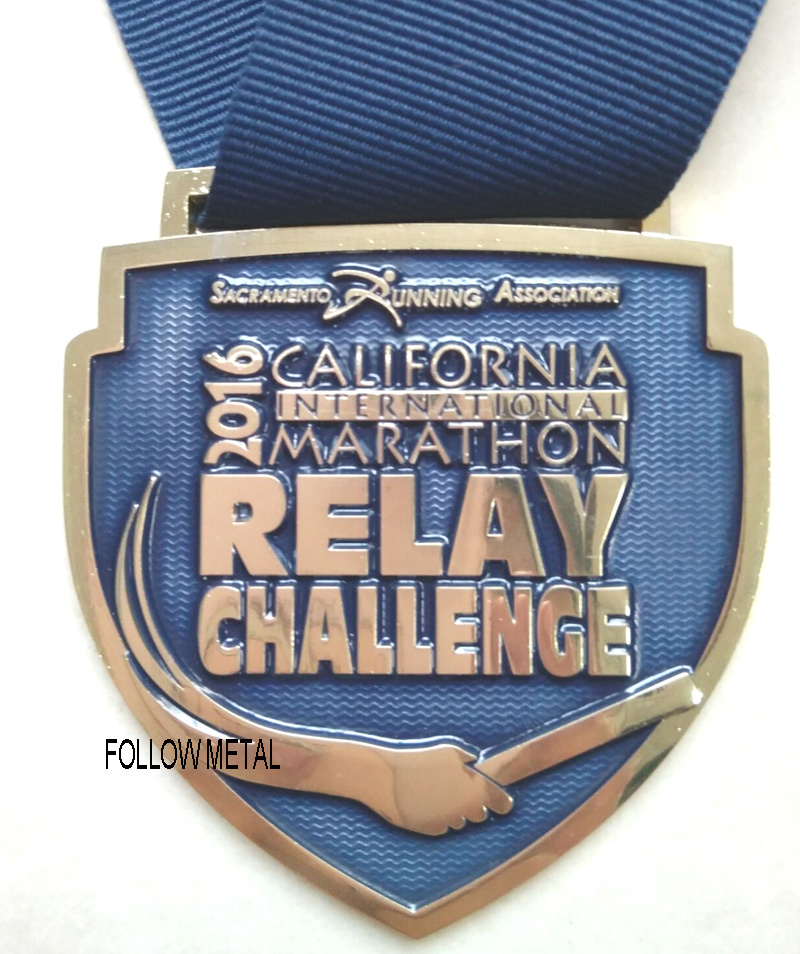 Customized Relay Challenge Medal, Transparent Color for California Marathontag