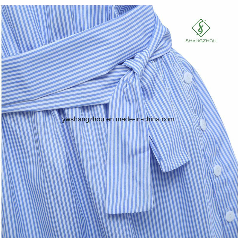 2017 Fashion One Shoulder Elegant Blue Striped Women Shirt Dress