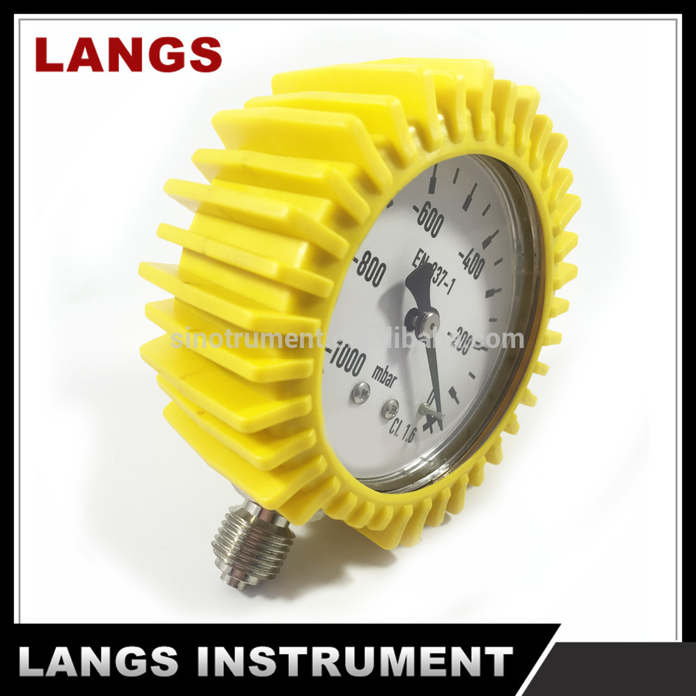 004 Factory Vacuum Pressure Gauge with Yellow Rubber