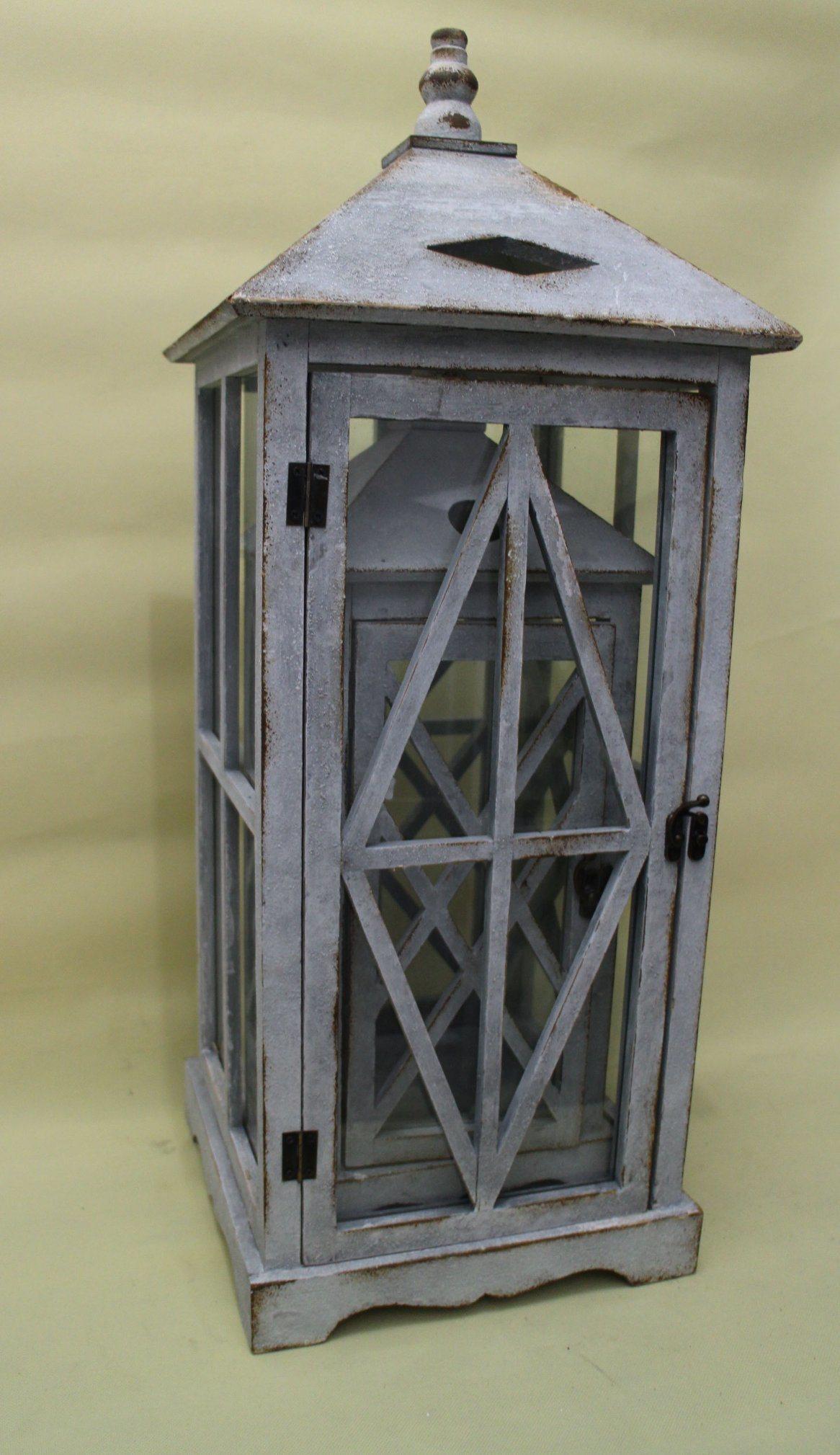 Vintage Wooden Lantern Grey Classical Style Lantern