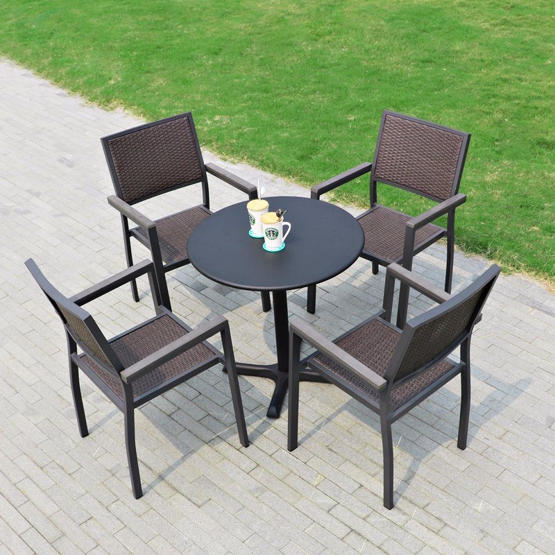 Patio Rattan Home Hotel Office Restaurant Aluminum Plate Polywood Dining Table and Chair (J804)