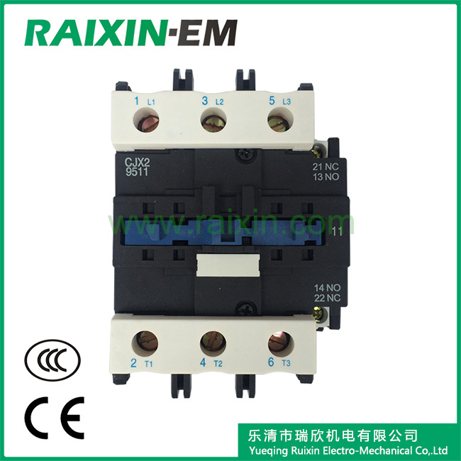 Raixin Cjx2-9511 AC Contactor 3p AC-3 380V 45kw Magnetic Contactor