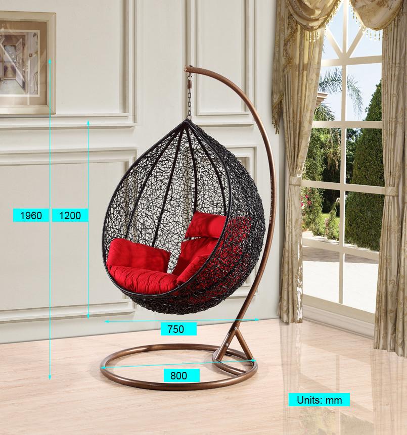 Modern Leisure Round Rattan Patio Furniture Hanging Chair (J811)