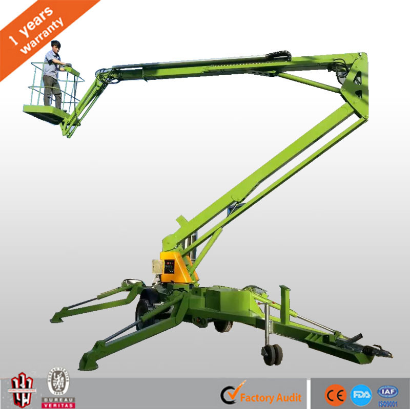 Manufacture Directly Supply Ce Approved 8-16m Hydraulic Boom Lift Towable Trailed Cherry Picker