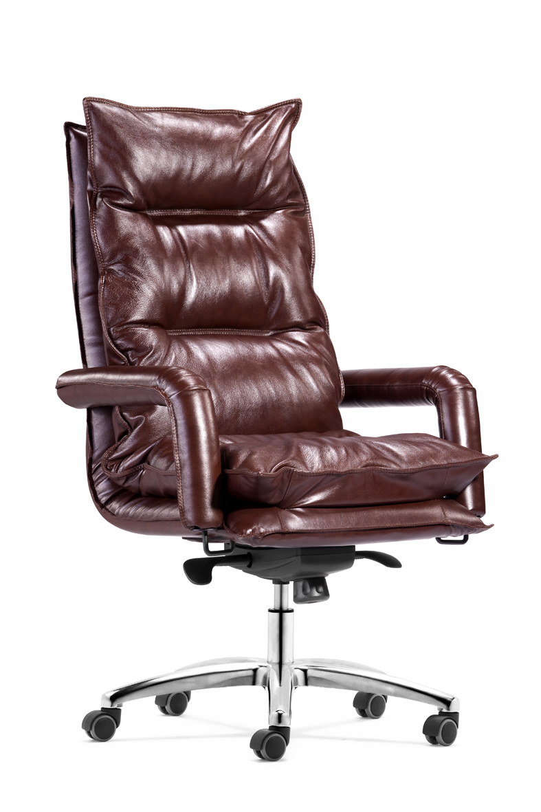 Soft Feeling Brown Color Genuine Leather Executive Office Chair (HX-6004)