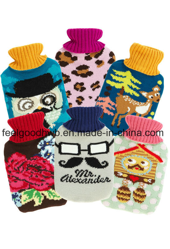 1000ml Middle Hot Water Bottle with Cartoon Design Knitted Cover