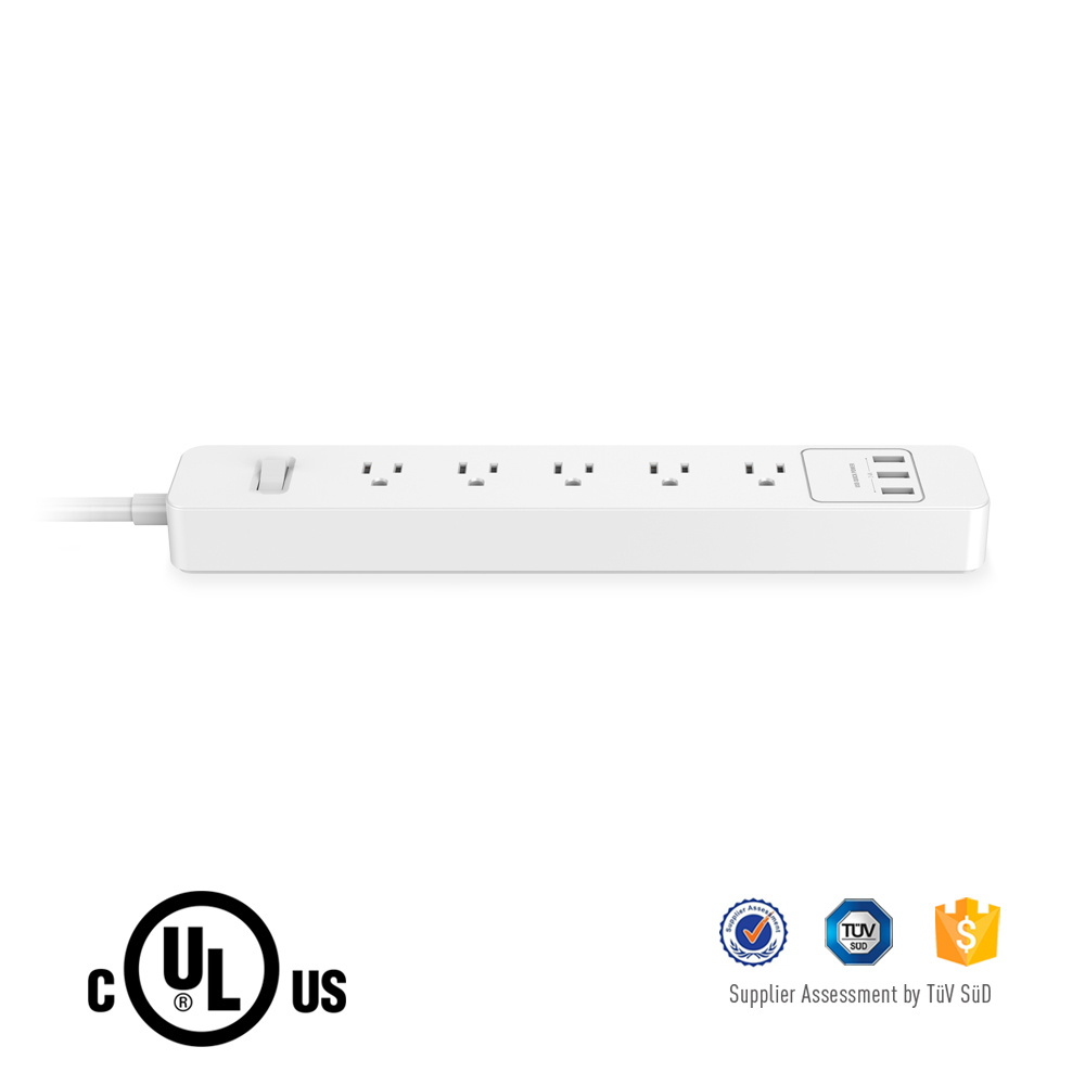 Great Design Us Extension Power Strip with 5 AC Outlet and 3 USB Output