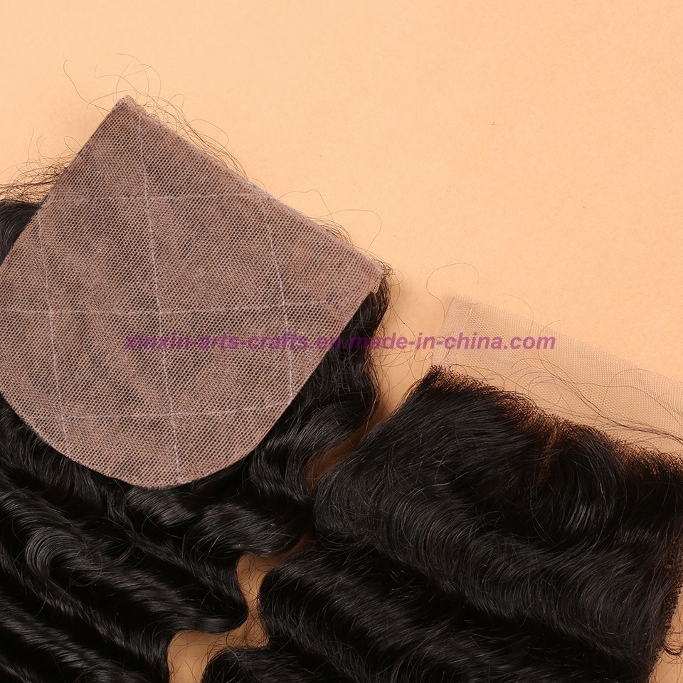 Malaysian Deep Wave Closure 4*4 Silk Base Closure 8A Unprocessed Hair Silk Base Closure