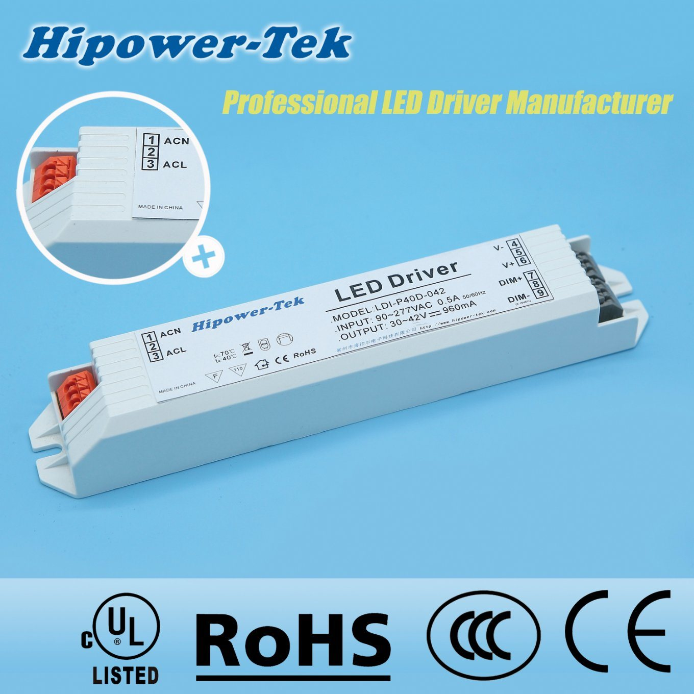 40W Constant Current Plastic Case Dimming Power Supply LED Driver