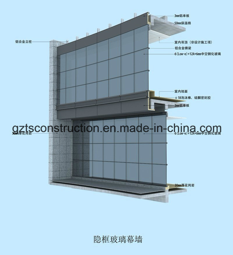 High Quality Glass Curtain Walls For Building, Office, Shop Front/Aluminum Curtain Wall  (offer Installation If Necessary)