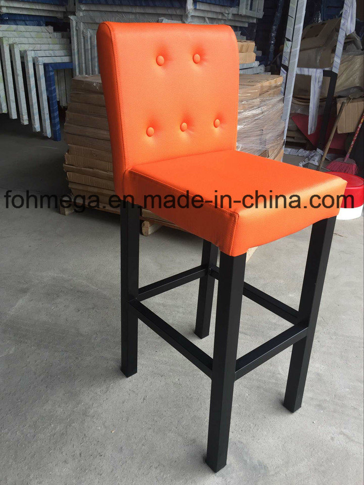 Orange Leather Bar Stools with Metal Leg (FOH-BS105)