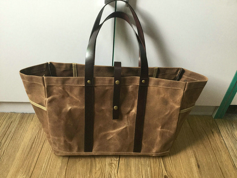 OEM Customized Vintage Waxed Canvas Tote Bag with Leather Handles