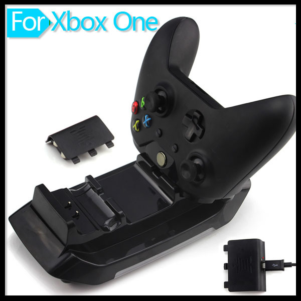 Dual Dock Charging Station Base Charger with Two Rechargeable Batteries and USB Cable for xBox One Wireless Controller