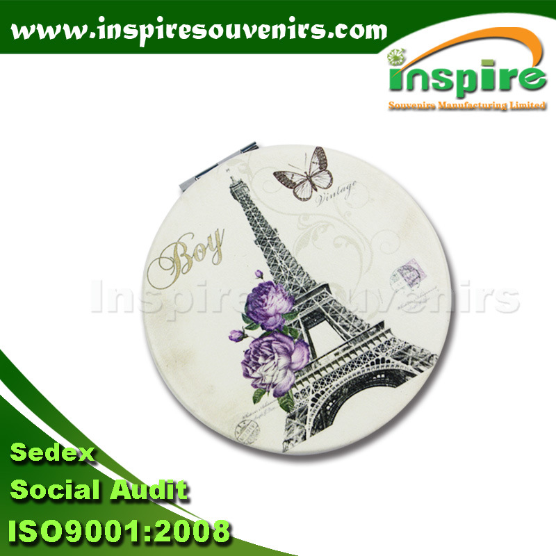 Customized Zinc Alloy Round Pocket Mirror for Paris Souvenir
