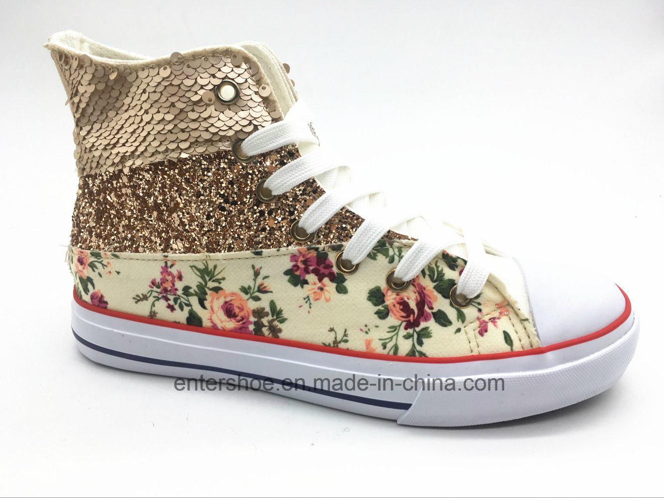 High Cut Canvas Women Fashion Shoes with Shoelaces (ET-YH160337W)