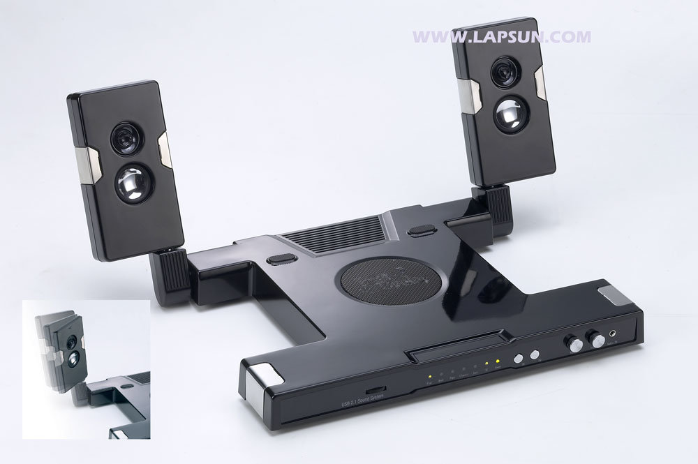 Computer Fan Stand : China laptop stand with stereo speakers and cooling