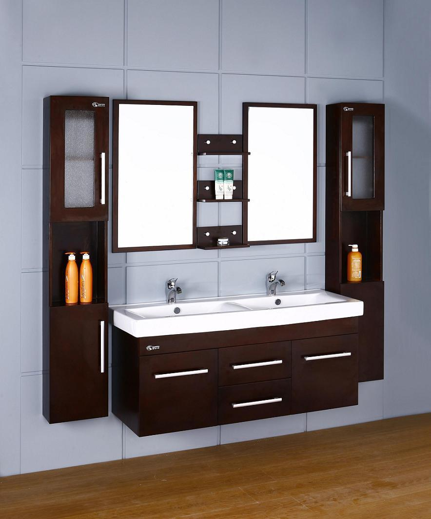 China wooden double sink wall mounted bathroom vanities for Small bathroom basin cabinets