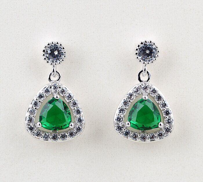 CZ Cubic Zirconia Diamond Zircon Silver Earrings Fashion Jewelry