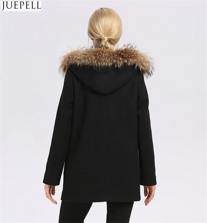 Europe Women Coat New Winter Long Women′s Wool Hooded Fur Collar Fur Women Coat